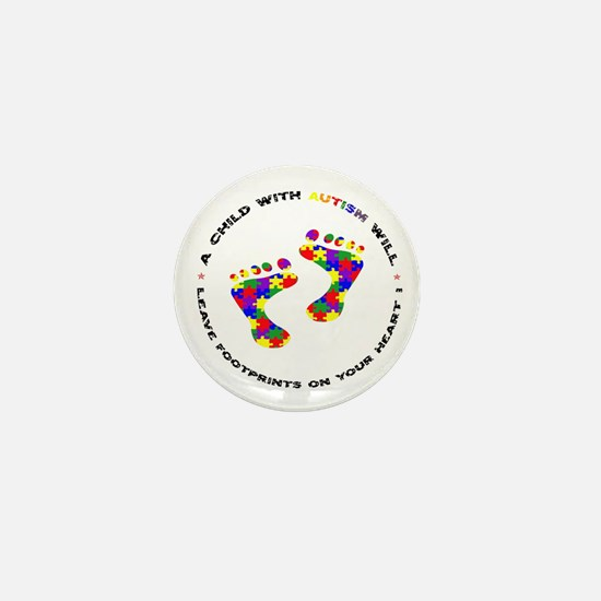 Footprints on your heart circ Mini Button