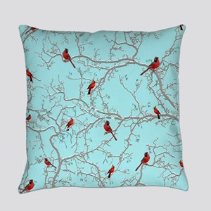 Cardinals on blue Everyday Pillow