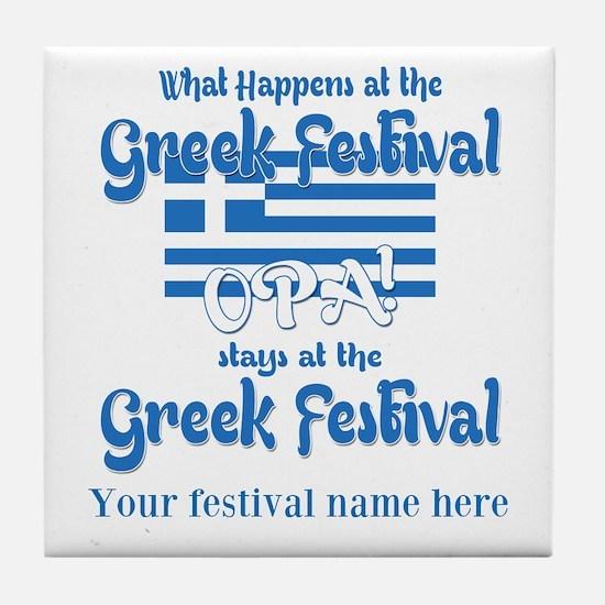 Greek Festival Tile Coaster