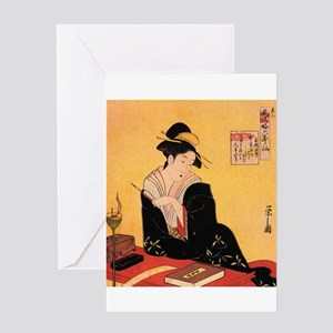 Immortal Poets by Chobunsei Eishi Greeting Cards