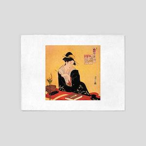 Immortal Poets by Chobunsei Eishi 5'x7'Area Rug