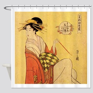 Immortal Poets by Chobunsei Eishi Shower Curtain