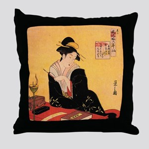 Immortal Poets by Chobunsei Eishi Throw Pillow