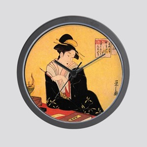 Immortal Poets by Chobunsei Eishi Wall Clock