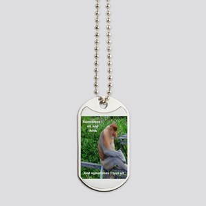 Proboscis Monkey Maybe Thinking Dog Tags