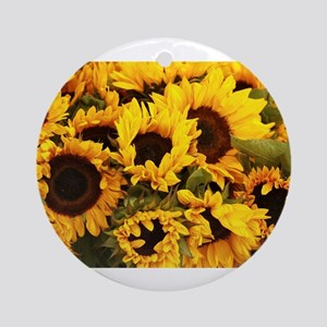 sunflowers at Almaden valley Art an Round Ornament