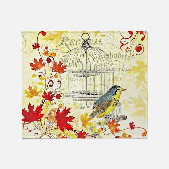 Autumn birdcage Throw Blanket