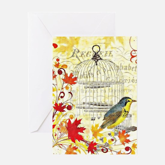 Autumn birdcage Greeting Cards