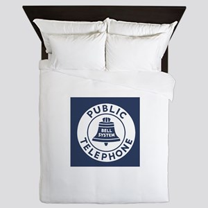 Bell Telephone Background- Logo Queen Duvet