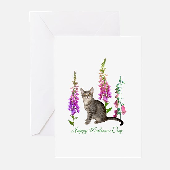 Cats in Foxglove Greeting Cards