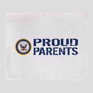 U.S. Navy: Proud Parents (Blue & Whi Throw Blanket