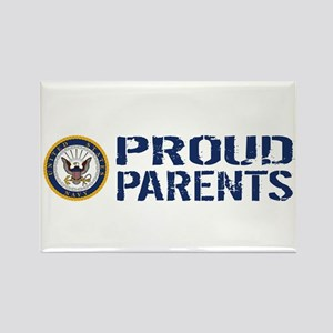 U.S. Navy: Proud Parents (Blue & Rectangle Magnet
