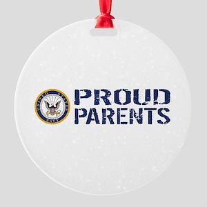 U.S. Navy: Proud Parents (Blue & Wh Round Ornament