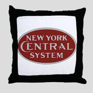 New York Central Railroad Logo-maroon Throw Pillow