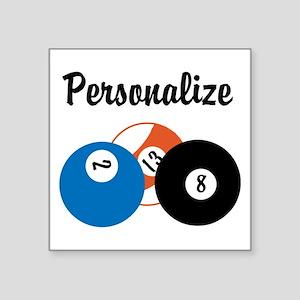 """Personalize Pool Biliards Square Sticker 3"""" x 3"""""""