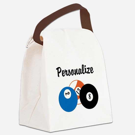 Personalize Pool Biliards Canvas Lunch Bag