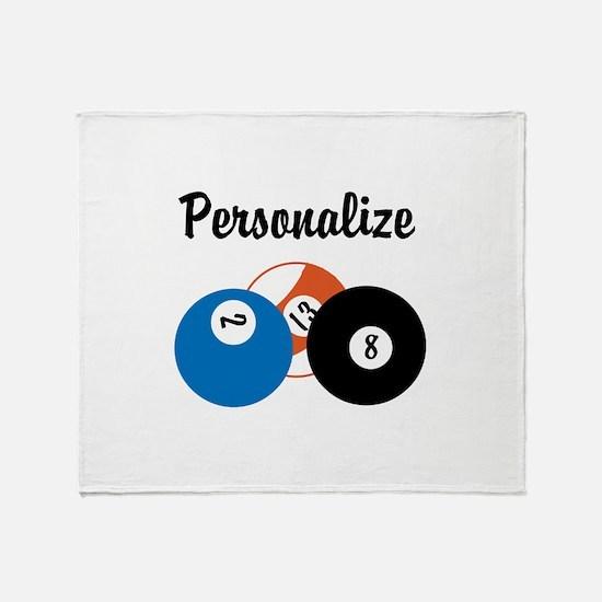 Personalize Pool Biliards Throw Blanket