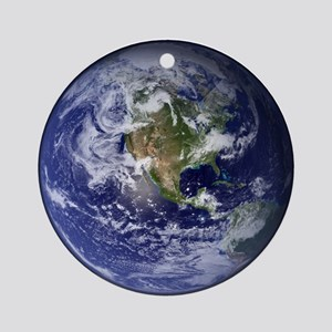 Western Earth from Space Round Ornament