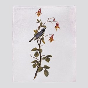Black Throated Blue Warbler Vintage Audubon Throw