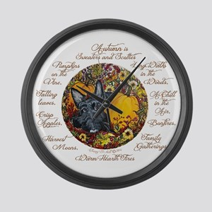 Autumn Scottie Love Large Wall Clock