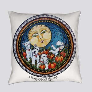 Fox Terrier Autumn Moon Everyday Pillow