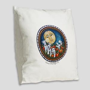 Fox Terrier Autumn Moon Burlap Throw Pillow