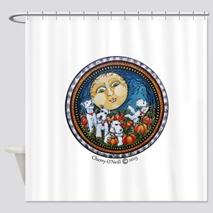 Fox Terrier Autumn Moon Shower Curtain