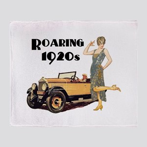 Roaring 20s Flapper and Auto Design Throw Blanket