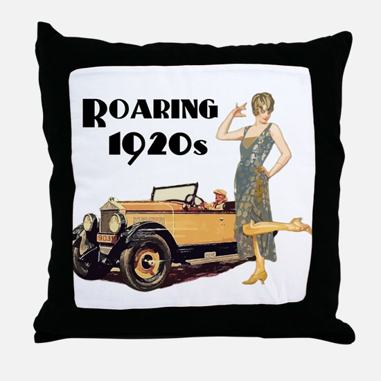 Roaring 20s Flapper and Auto Design Throw Pillow