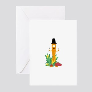Thanksgiving Carrot with Vegetables Greeting Cards
