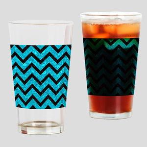 CHEVRON9 BLACK MARBLE & TURQUOISE M Drinking Glass