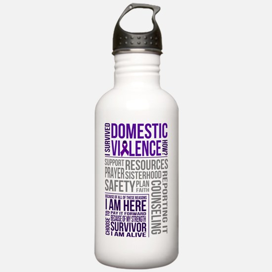 Unique Domestic violence awarness survivor ribbon Water Bottle