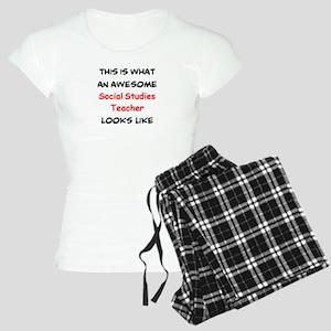 awesome social studies teac Women's Light Pajamas