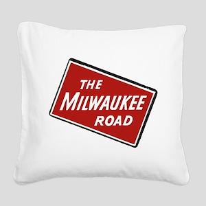 Milwaukee Road logo- slanted Square Canvas Pillow