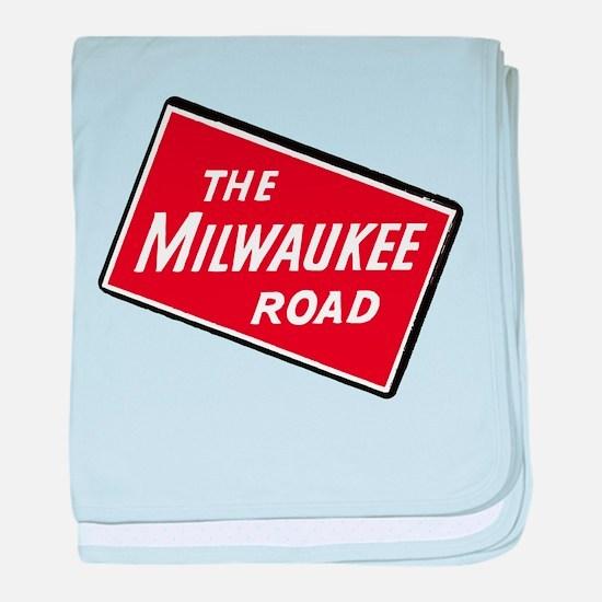 Milwaukee Road logo- slanted baby blanket