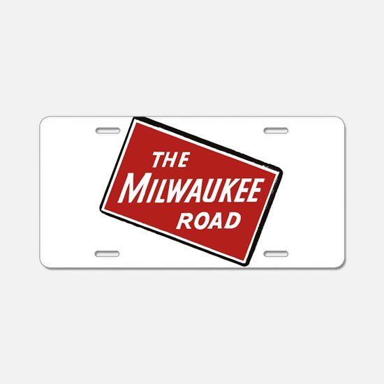 Milwaukee Road logo- slante Aluminum License Plate