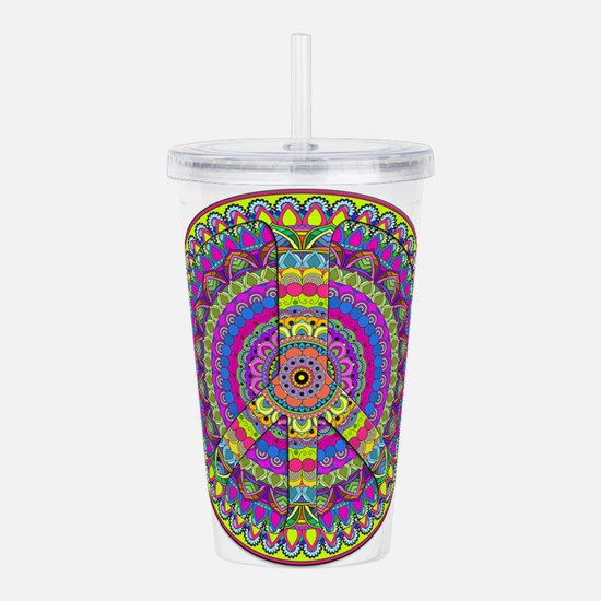 Peace Sign Mandala Acrylic Double-wall Tumbler