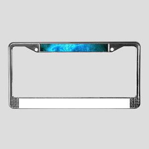 Blue Spiral Fractal License Plate Frame