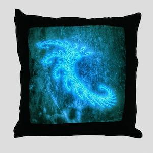 Blue Spiral Fractal Throw Pillow