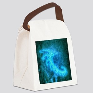 Blue Spiral Fractal Canvas Lunch Bag