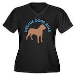 RDR Rotti Women's Plus Size V-Neck Dark T-Shirt