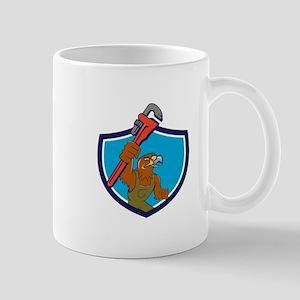 Hawk Plumber Wrench Crest Cartoon Mugs