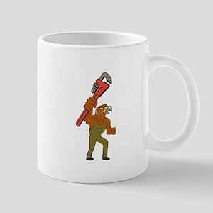 Hawk Plumber Wrench Cartoon Mugs