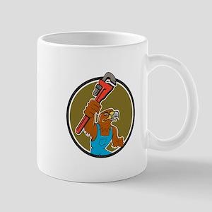 Hawk Plumber Wrench Circle Cartoon Mugs