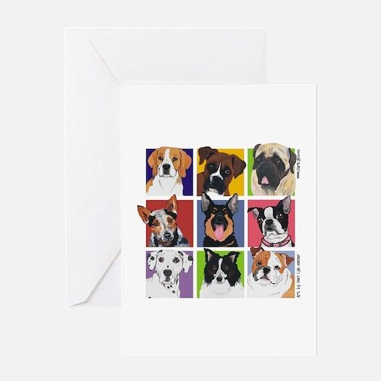 Multi Breed Squares Greeting Card