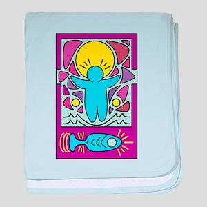 Jesus walking on water Keith Haring v baby blanket