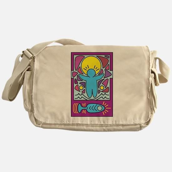 Jesus walking on water Keith Haring Messenger Bag