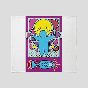 Jesus walking on water Keith Haring Throw Blanket