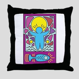 Jesus walking on water Keith Haring v Throw Pillow
