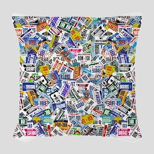 Us Licence Plates Print Woven Throw Pillow